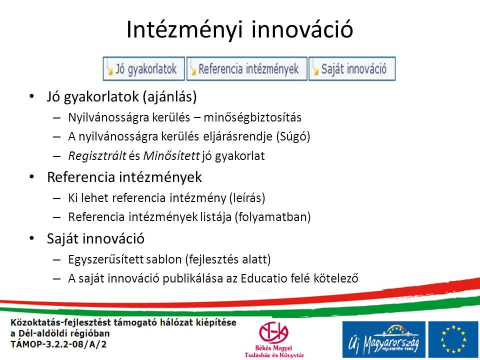 Intézményi innováció Jó gyakorlatok (ajánlás) Referencia intézmények