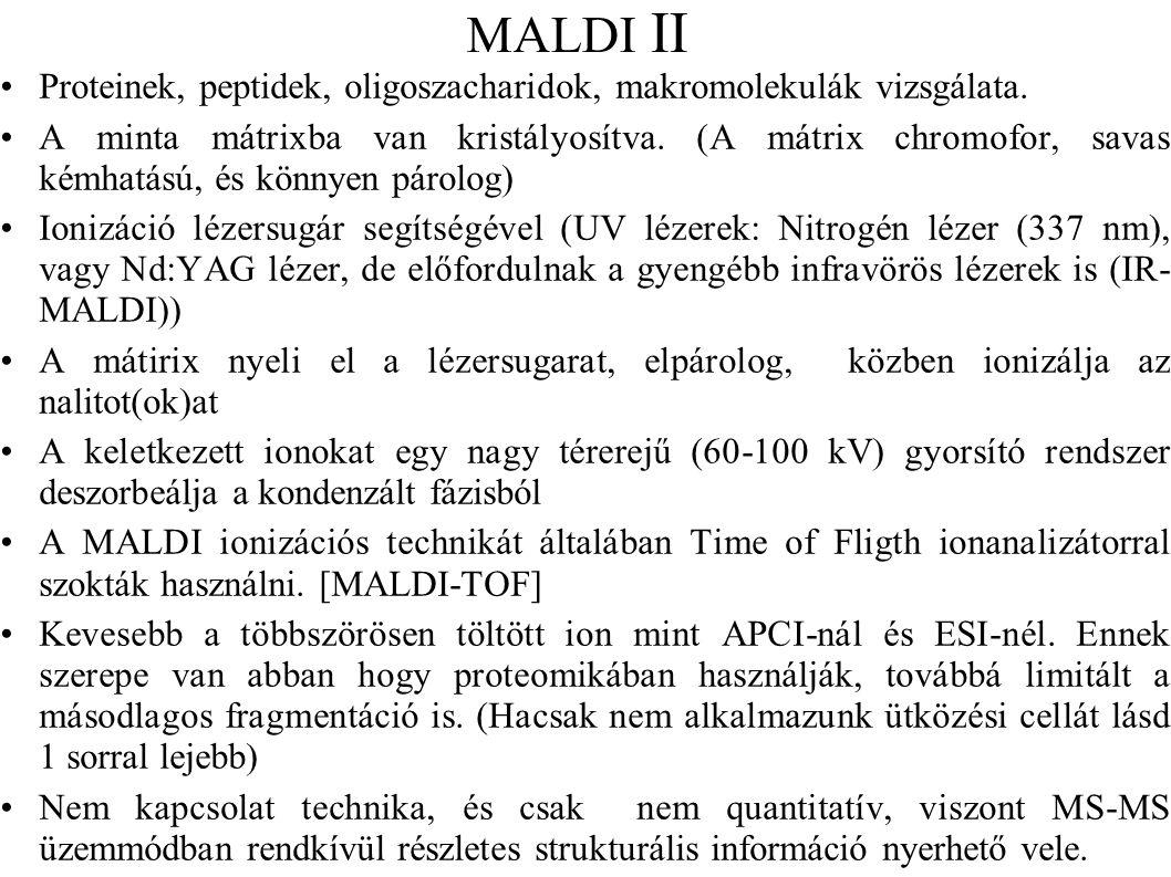 MALDI II Proteinek, peptidek, oligoszacharidok, makromolekulák vizsgálata.