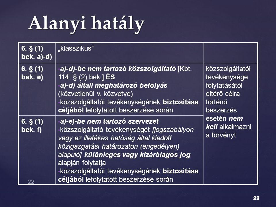 """Alanyi hatály 6. § (1) bek. a)-d) """"klasszikus 6. § (1) bek. e)"""