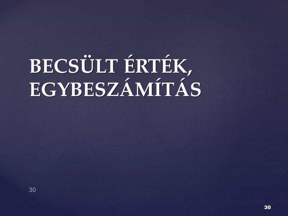 BECSÜLT ÉRTÉK, EGYBESZÁMÍTÁS