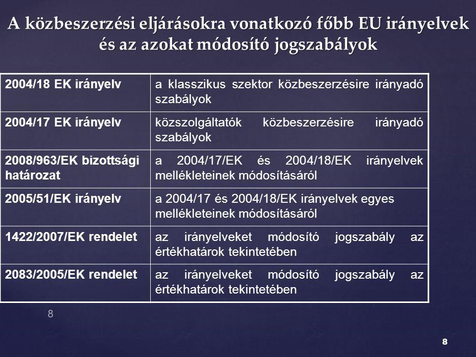 A közbeszerzési eljárásokra vonatkozó főbb EU irányelvek és az azokat módosító jogszabályok