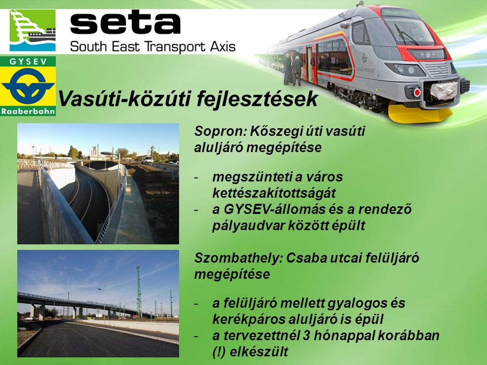 Vasúti-közúti fejlesztések