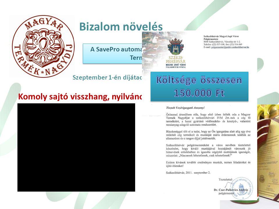 A SavePro automatával pályáztunk a Magyar Termék nagydíjra