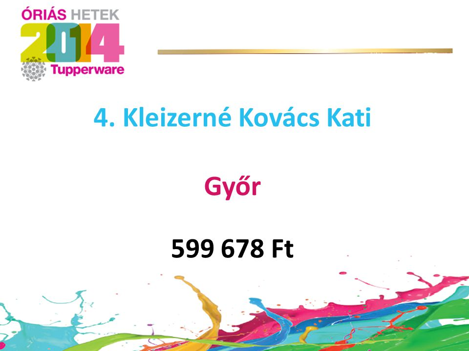 4. Kleizerné Kovács Kati Győr 599 678 Ft