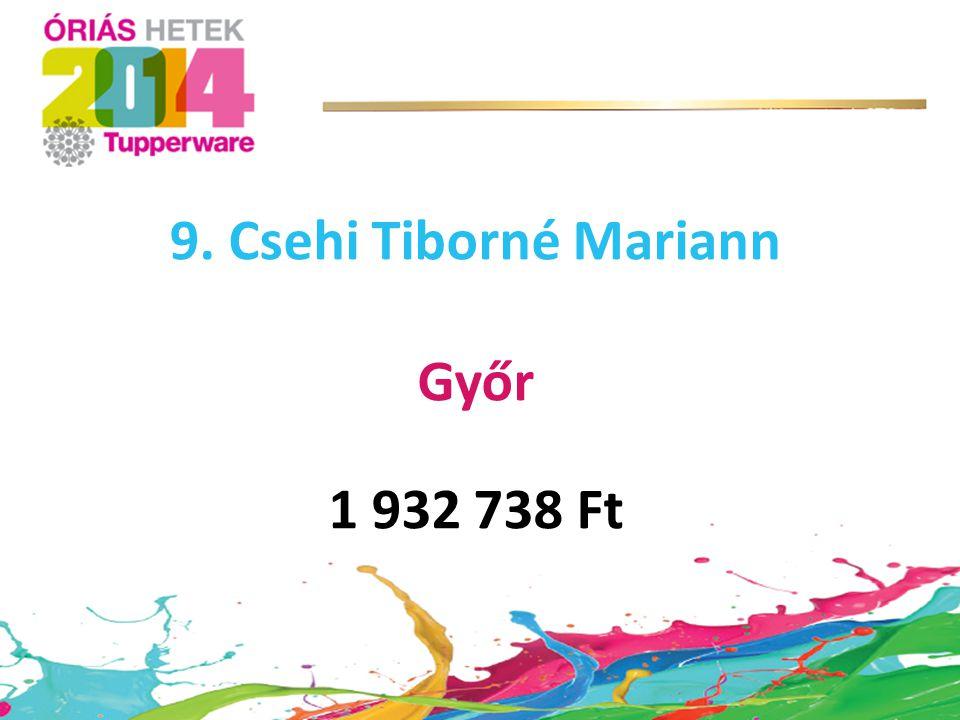 9. Csehi Tiborné Mariann Győr 1 932 738 Ft