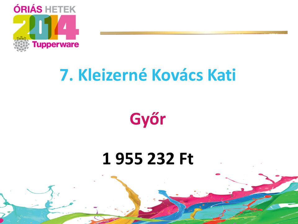 7. Kleizerné Kovács Kati Győr 1 955 232 Ft
