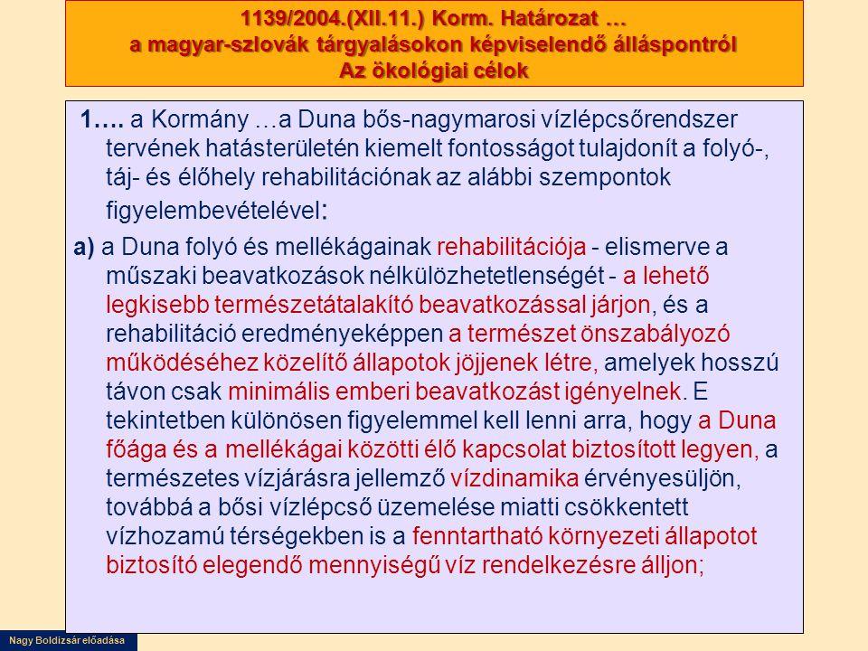 1139/2004.(XII.11.) Korm. Határozat … a magyar-szlovák tárgyalásokon képviselendő álláspontról Az ökológiai célok