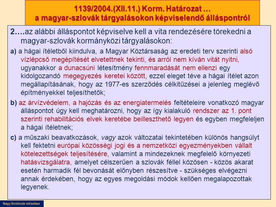 1139/2004.(XII.11.) Korm. Határozat … a magyar-szlovák tárgyalásokon képviselendő álláspontról