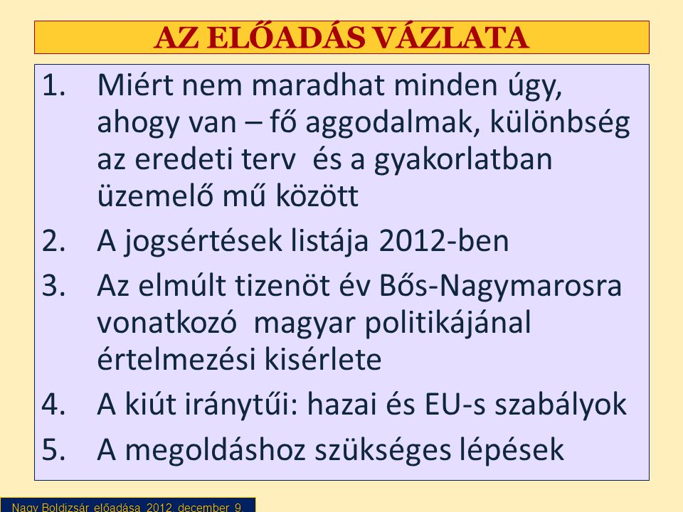 A jogsértések listája 2012-ben