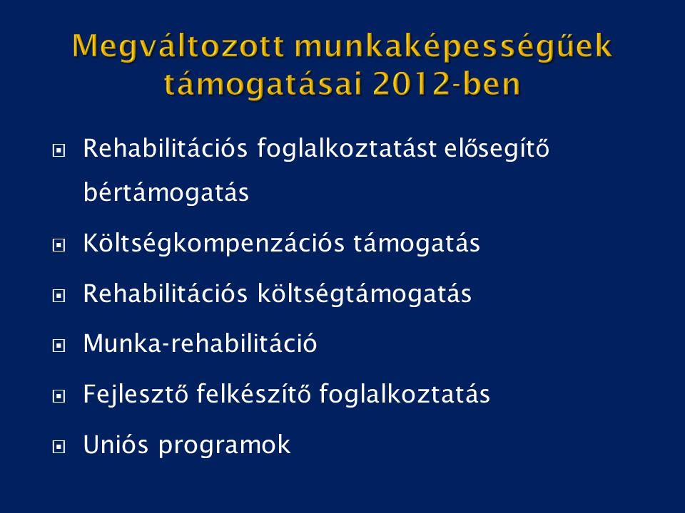 Megváltozott munkaképességűek támogatásai 2012-ben