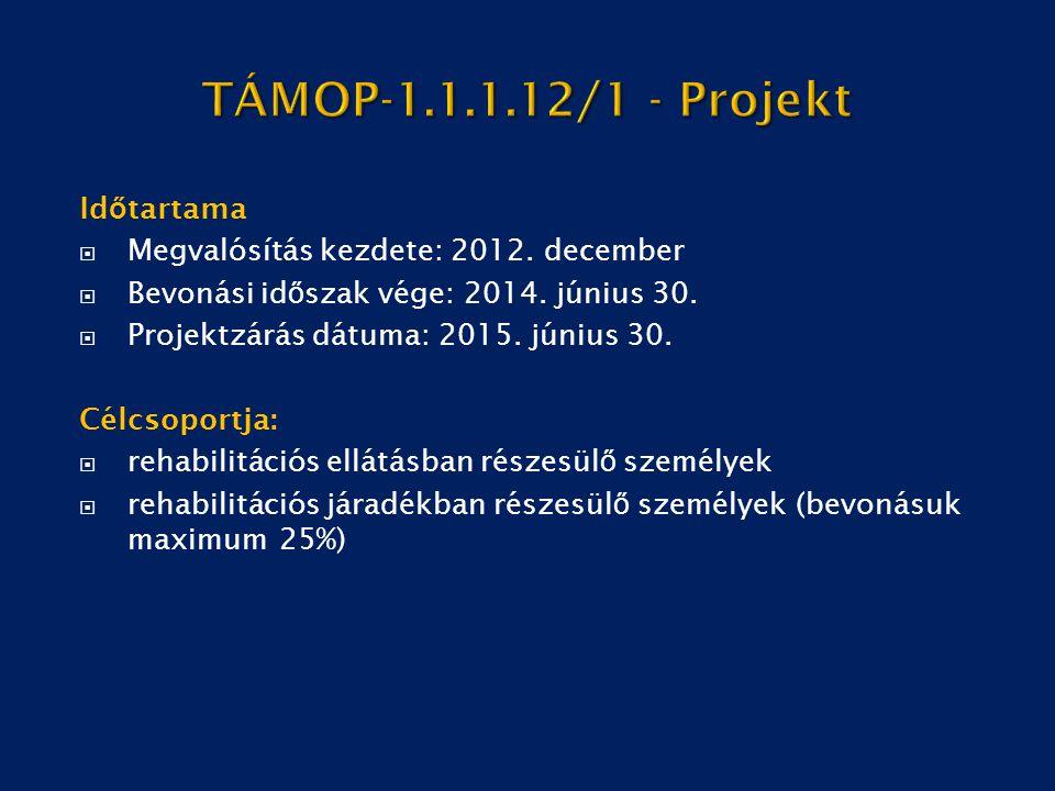 TÁMOP-1.1.1.12/1 - Projekt Időtartama