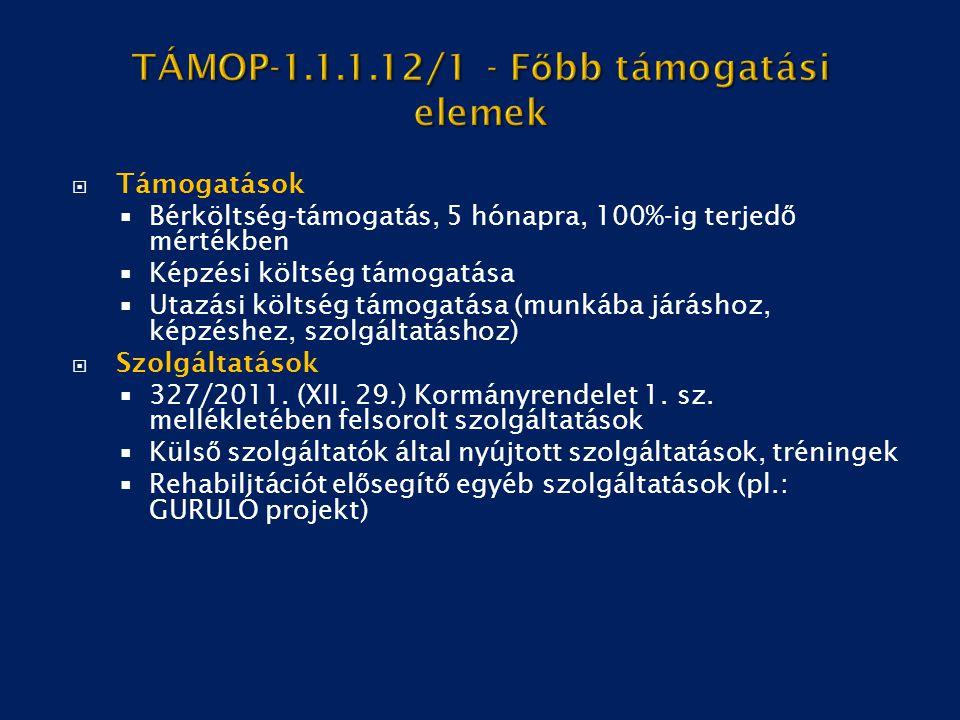 TÁMOP-1.1.1.12/1 - Főbb támogatási elemek