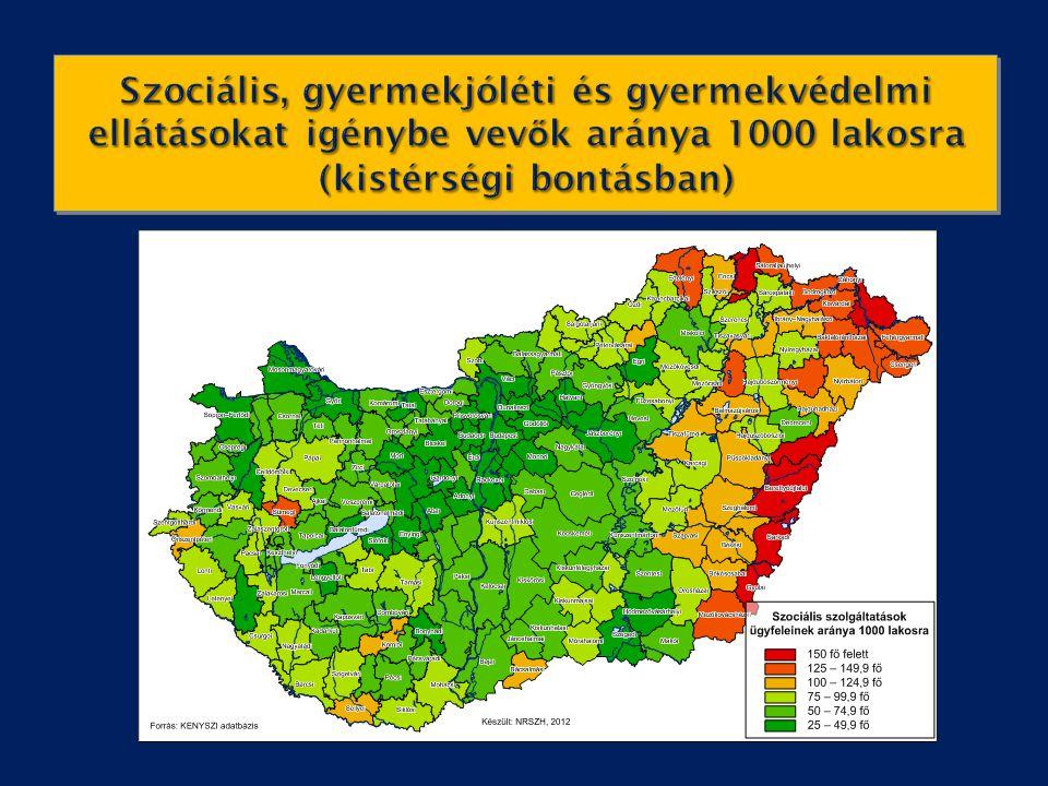 Szociális, gyermekjóléti és gyermekvédelmi ellátásokat igénybe vevők aránya 1000 lakosra (kistérségi bontásban)