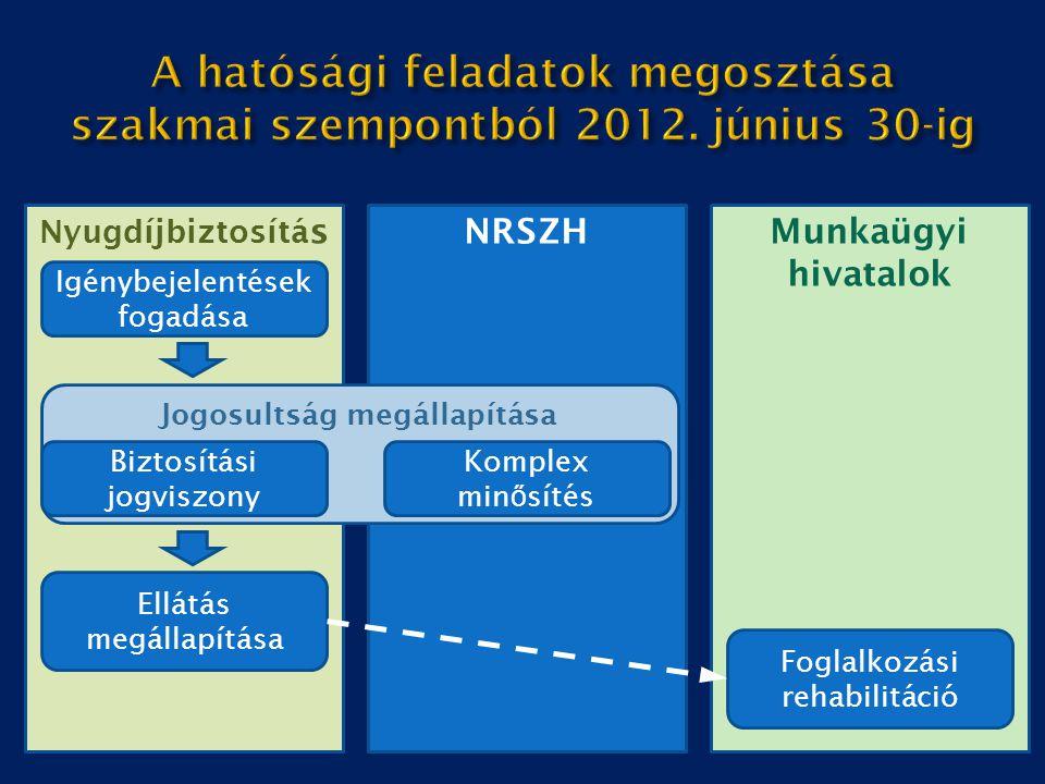 A hatósági feladatok megosztása szakmai szempontból 2012. június 30-ig