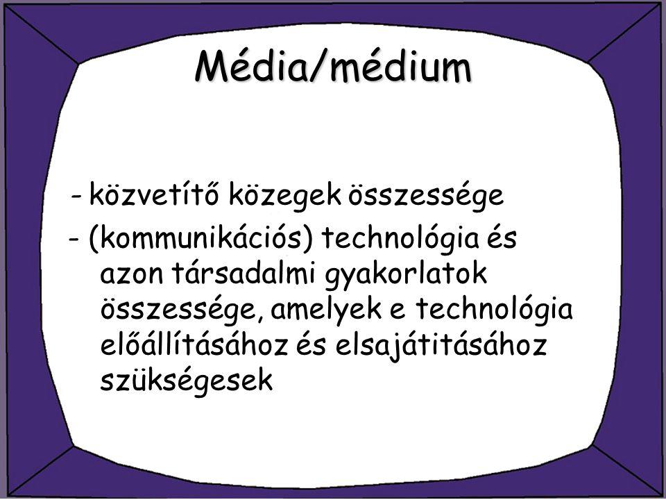 Média/médium - közvetítő közegek összessége