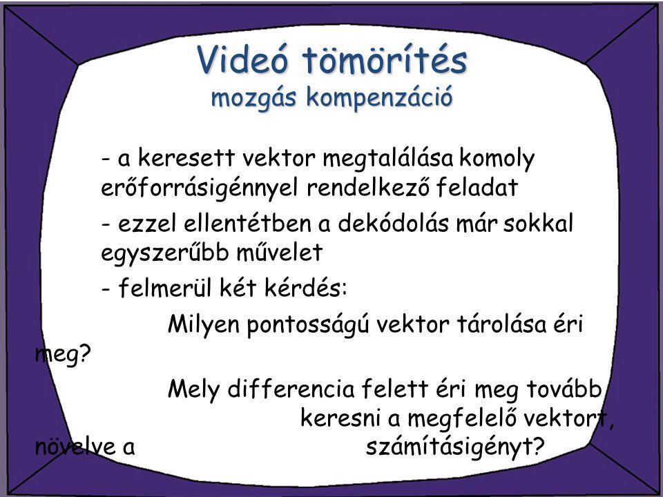 Videó tömörítés mozgás kompenzáció