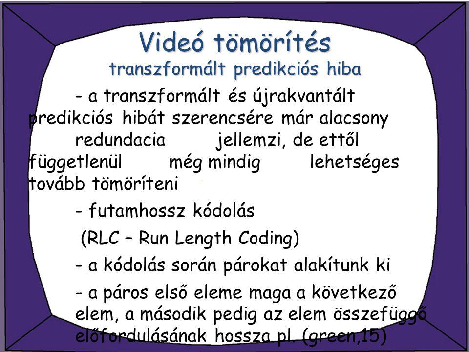 Videó tömörítés transzformált predikciós hiba