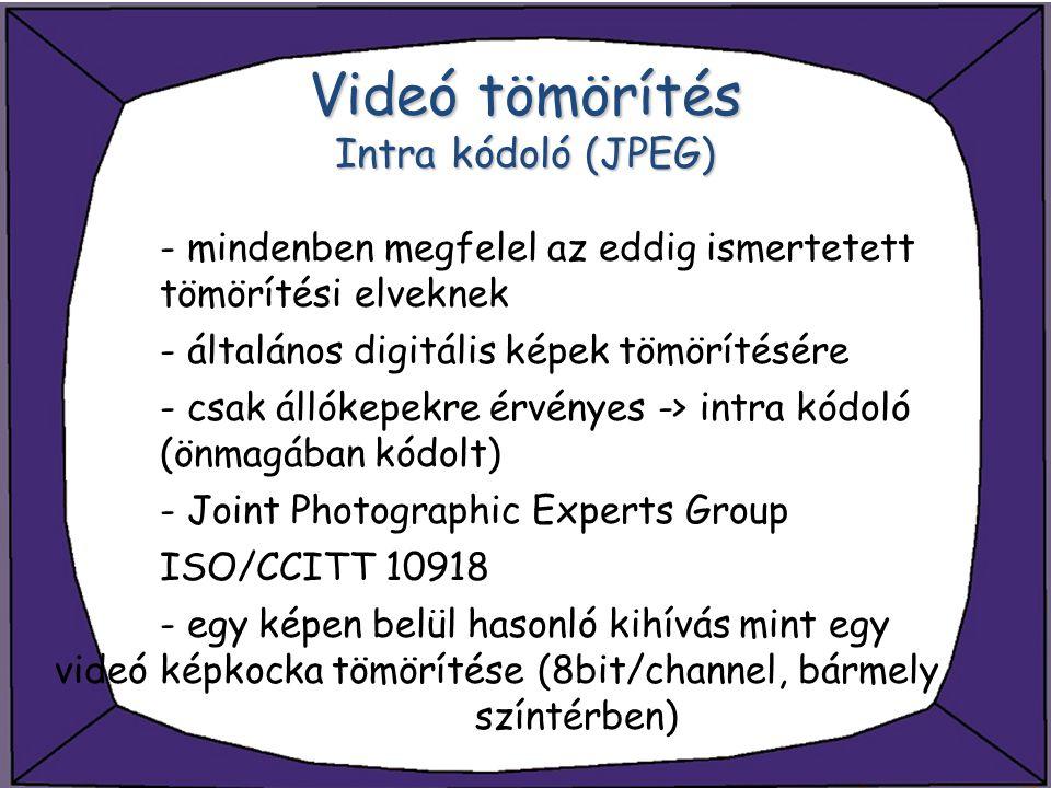 Videó tömörítés Intra kódoló (JPEG)