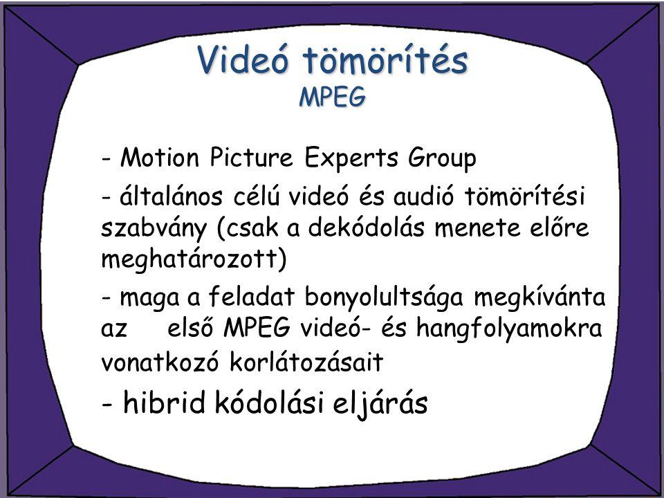 Videó tömörítés MPEG - hibrid kódolási eljárás