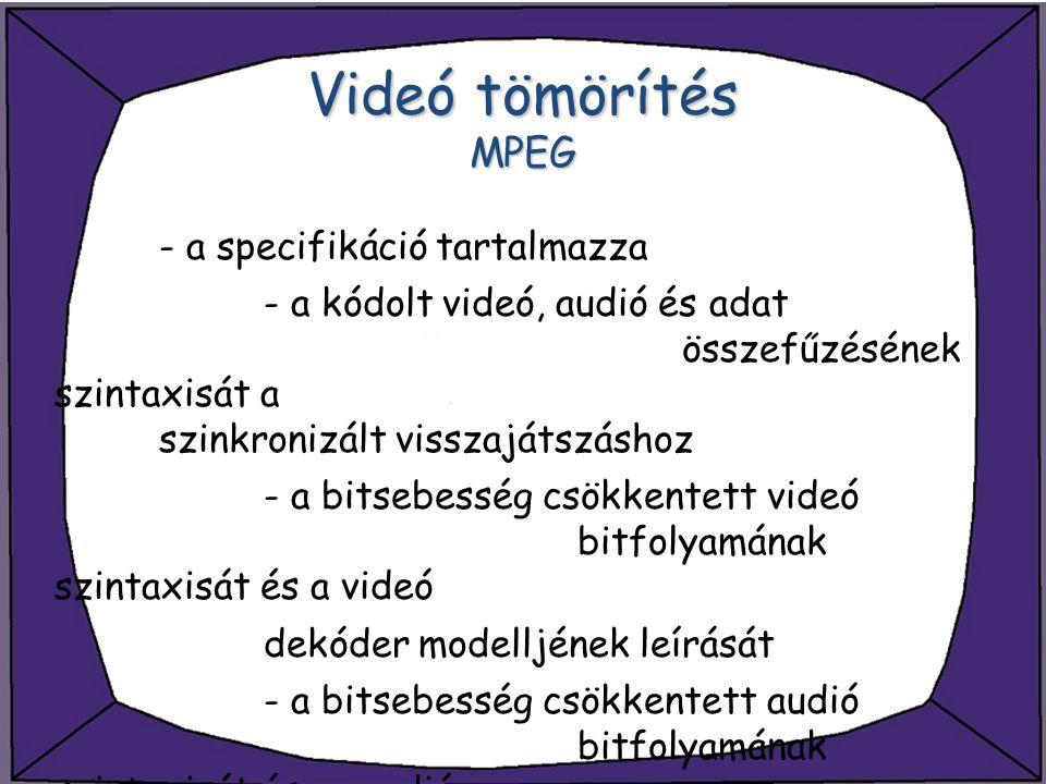 Videó tömörítés MPEG - a specifikáció tartalmazza