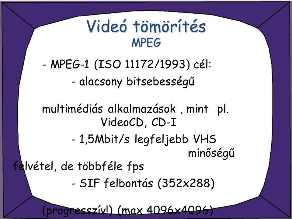 Videó tömörítés MPEG - MPEG-1 (ISO 11172/1993) cél: