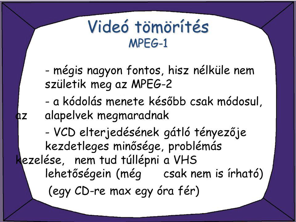 Videó tömörítés MPEG-1 - mégis nagyon fontos, hisz nélküle nem születik meg az MPEG-2.