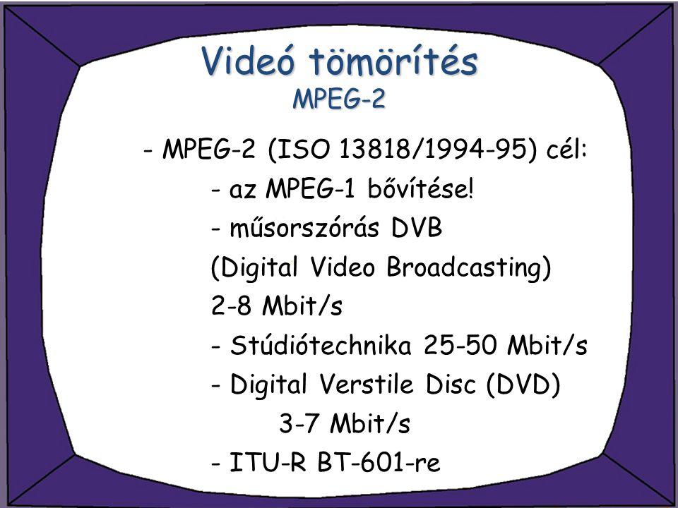 Videó tömörítés MPEG-2 - MPEG-2 (ISO 13818/1994-95) cél: