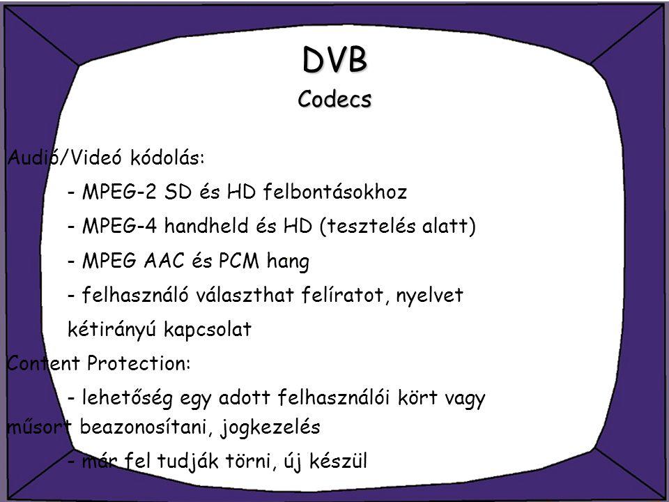 DVB Codecs Audió/Videó kódolás: - MPEG-2 SD és HD felbontásokhoz