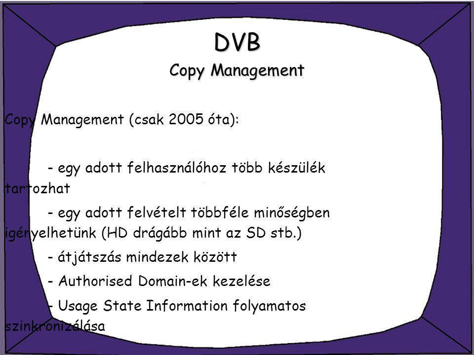 DVB Copy Management Copy Management (csak 2005 óta):