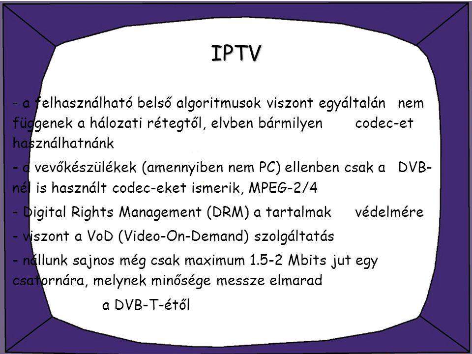 IPTV - a felhasználható belső algoritmusok viszont egyáltalán nem függenek a hálozati rétegtől, elvben bármilyen codec-et használhatnánk.