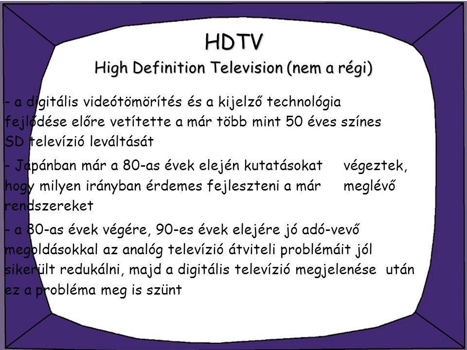 HDTV High Definition Television (nem a régi)