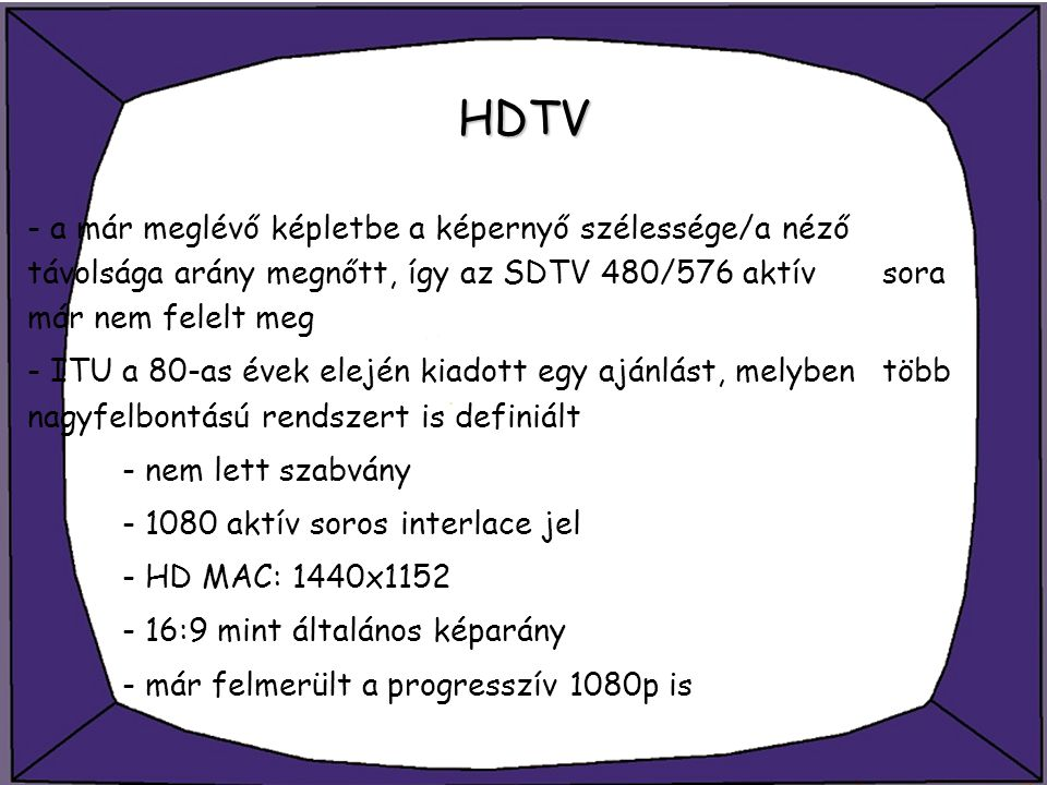 HDTV - a már meglévő képletbe a képernyő szélessége/a néző távolsága arány megnőtt, így az SDTV 480/576 aktív sora már nem felelt meg.