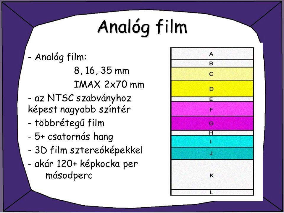 Analóg film - Analóg film: 8, 16, 35 mm IMAX 2x70 mm