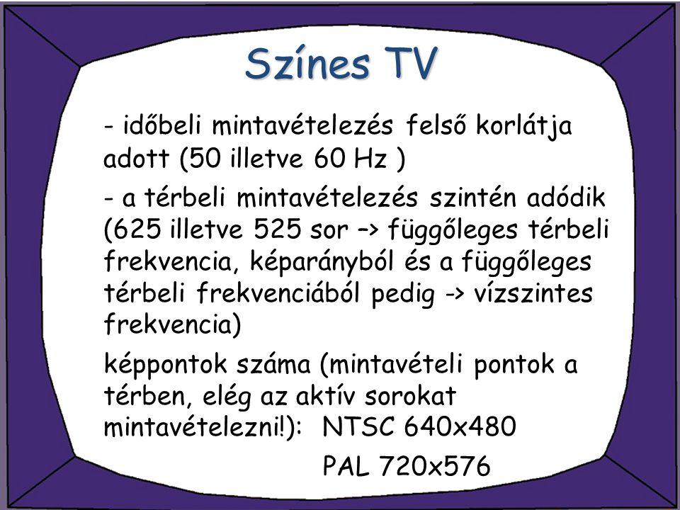 Színes TV - időbeli mintavételezés felső korlátja adott (50 illetve 60 Hz )