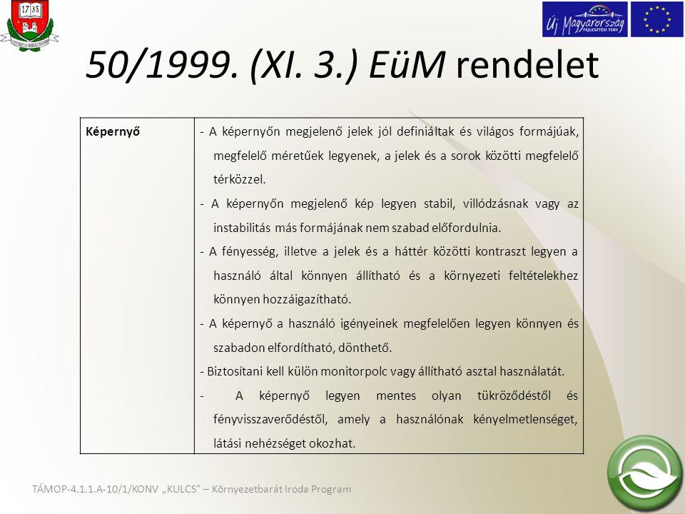 50/1999. (XI. 3.) EüM rendelet Képernyő