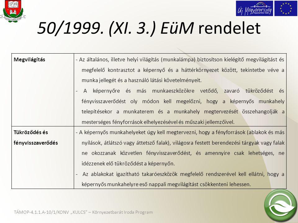 50/1999. (XI. 3.) EüM rendelet Megvilágítás