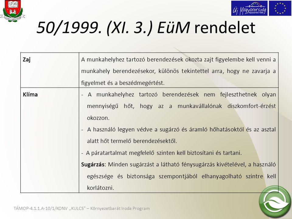 50/1999. (XI. 3.) EüM rendelet Zaj.