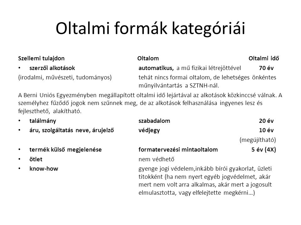 Oltalmi formák kategóriái