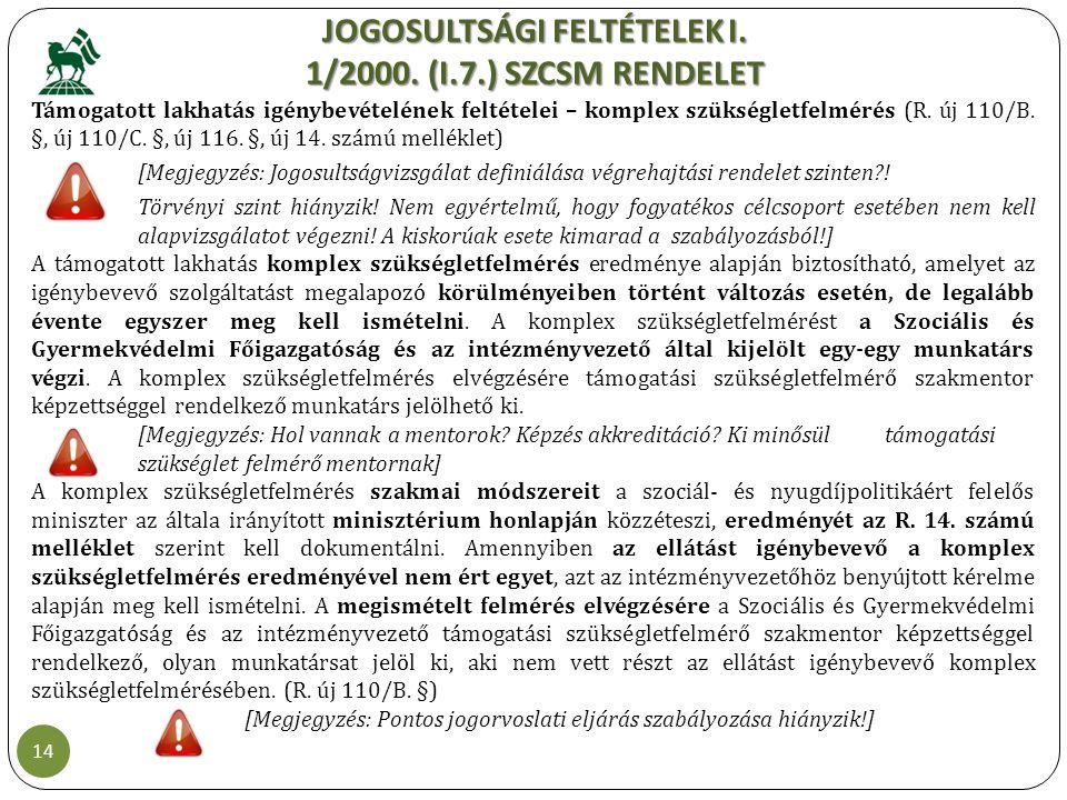 JOGOSULTSÁGI FELTÉTELEK I. 1/2000. (I.7.) SZCSM RENDELET