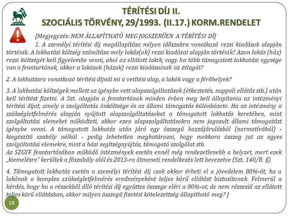 TÉRÍTÉSI DÍJ II. SZOCIÁLIS TÖRVÉNY, 29/1993. (II.17.) KORM.RENDELET