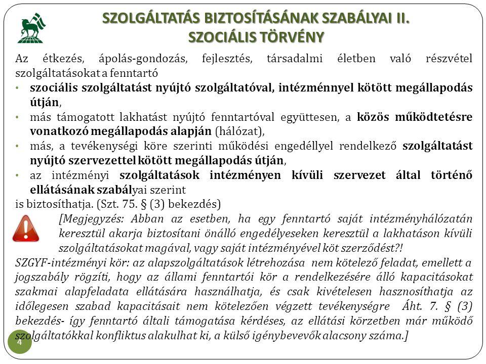 SZOLGÁLTATÁS BIZTOSÍTÁSÁNAK SZABÁLYAI II. SZOCIÁLIS TÖRVÉNY