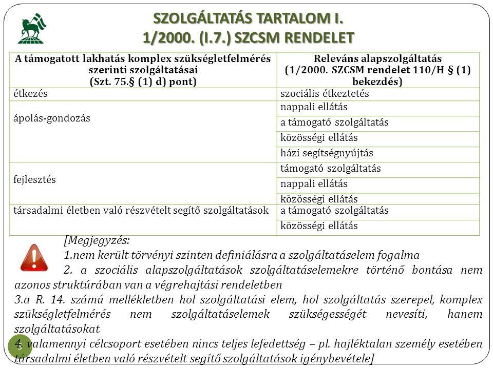 SZOLGÁLTATÁS TARTALOM I. 1/2000. (I.7.) SZCSM RENDELET