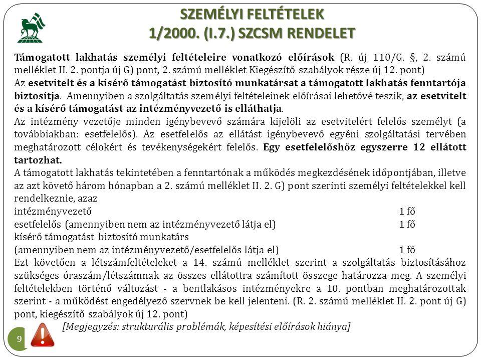 SZEMÉLYI FELTÉTELEK 1/2000. (I.7.) SZCSM RENDELET