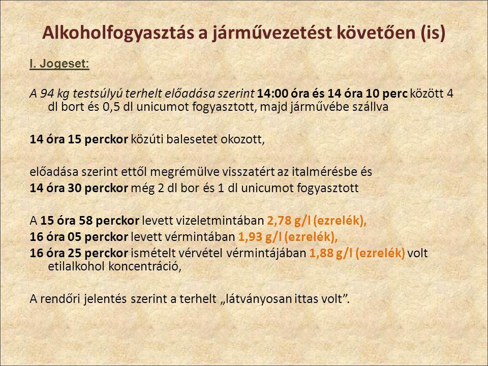 Alkoholfogyasztás a járművezetést követően (is)