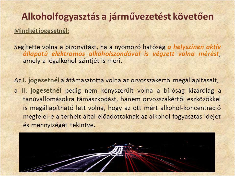 Alkoholfogyasztás a járművezetést követően