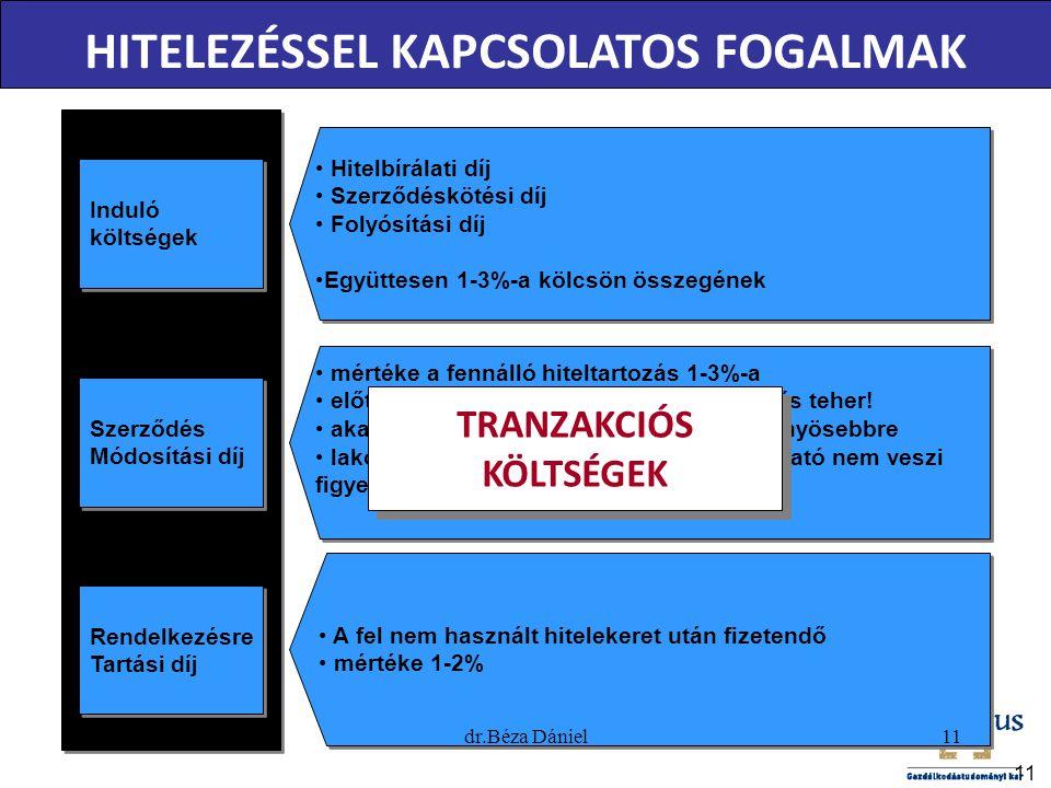 HITELEZÉSSEL KAPCSOLATOS FOGALMAK TRANZAKCIÓS KÖLTSÉGEK