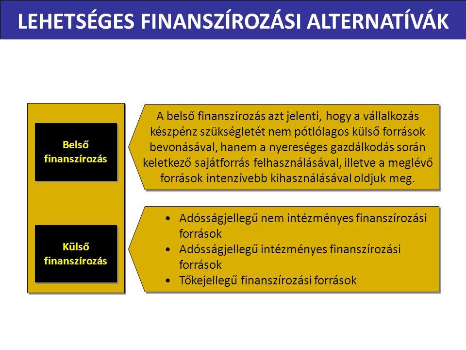 LEHETSÉGES FINANSZÍROZÁSI ALTERNATÍVÁK