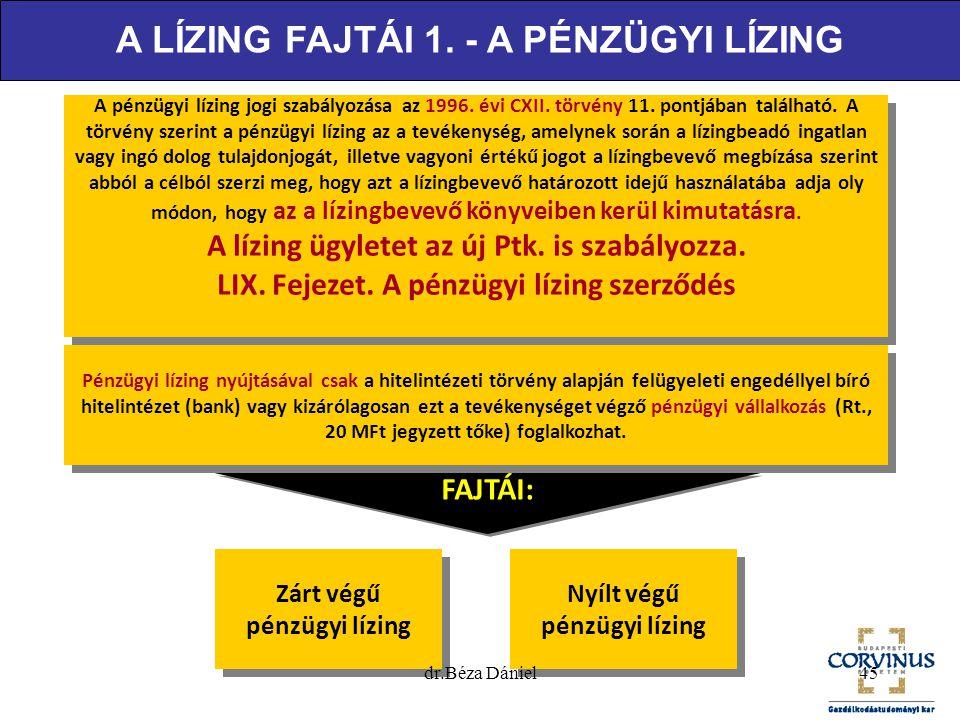 A LÍZING FAJTÁI 1. - A PÉNZÜGYI LÍZING