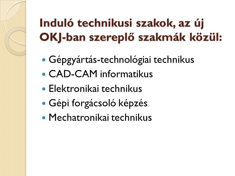 Induló technikusi szakok, az új OKJ-ban szereplő szakmák közül: