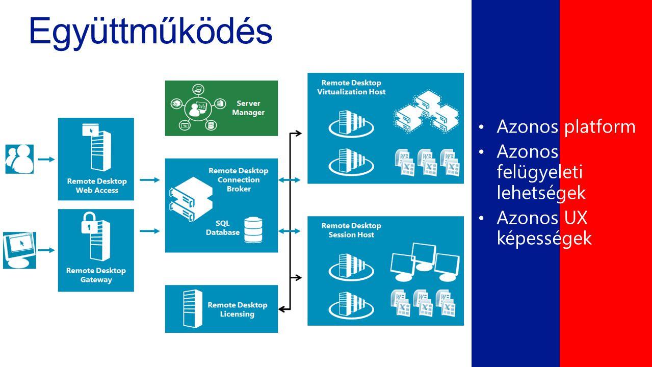 Együttműködés Azonos platform Azonos felügyeleti lehetségek